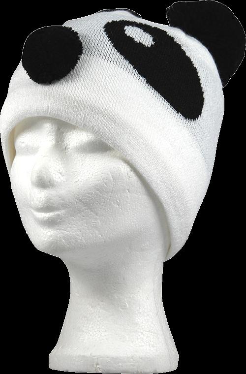 Dětská čepice pandas bílá velikost 6-9 let, 1kus