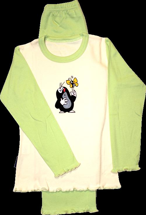 Dětské pyžamo kr 007 dlouhé vzor H - smetanová-zelená velikost 122-128, 1kus