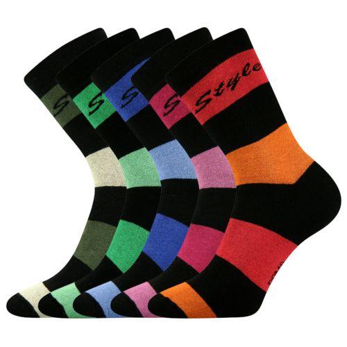 Ponožky pruhana 11 mix 11 velikost 26-28 (39-42), 5párů